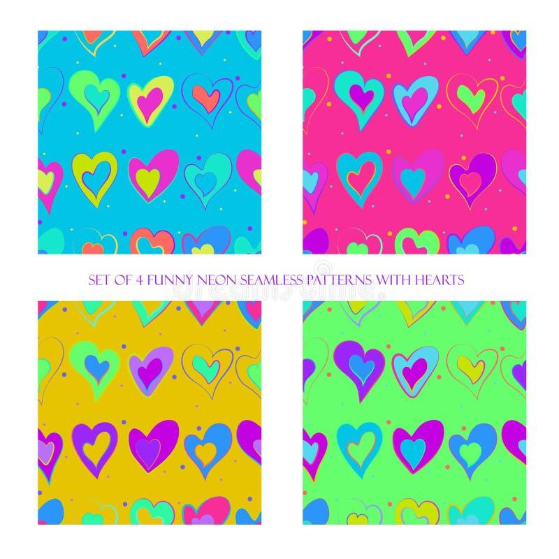 Naadloze patronen met harten stock illustratie
