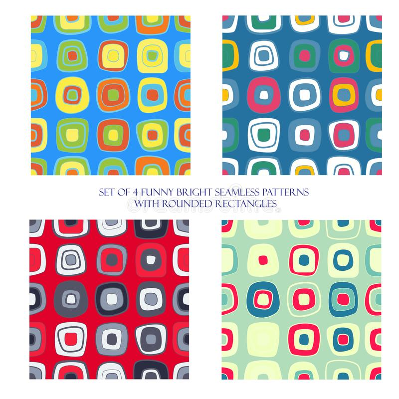 Naadloze patronen met rond gemaakte rechthoeken stock illustratie