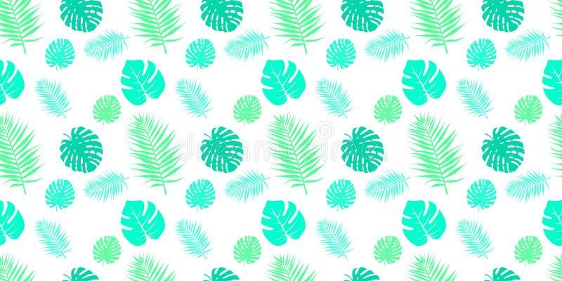 Naadloze patronen met stoffentextuur Tropische bladeren op een witte achtergrond stock illustratie