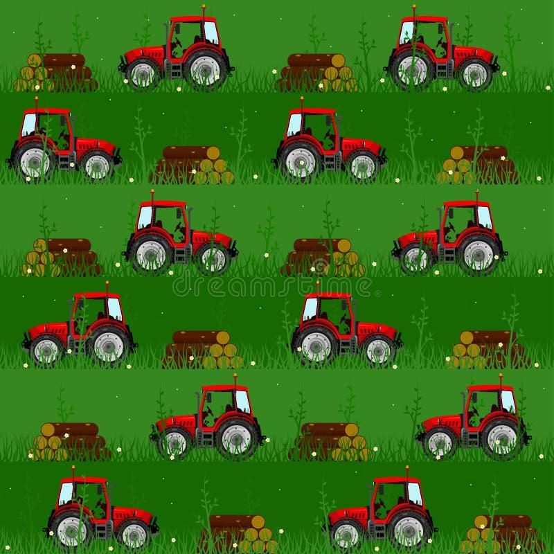 Naadloze patronen met tractoren vector illustratie