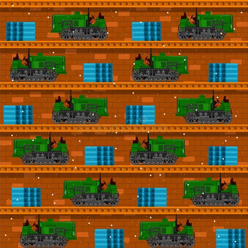 Naadloze patronen met tractoren royalty-vrije stock afbeeldingen