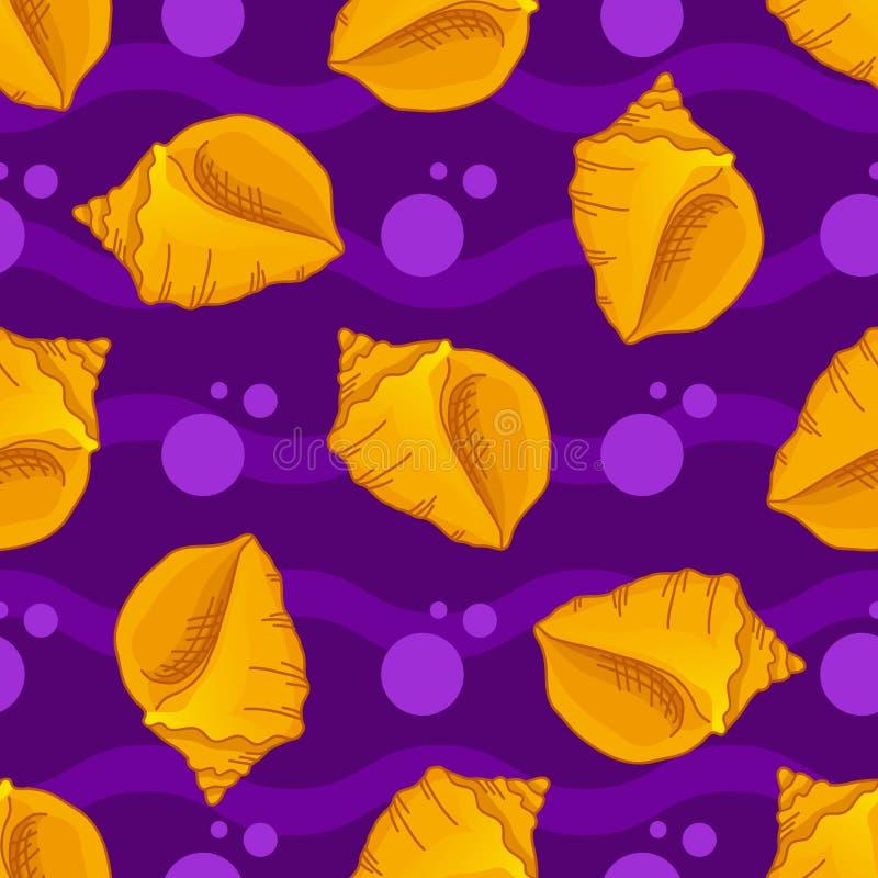 Naadloze patronen met zeeschelpen royalty-vrije illustratie