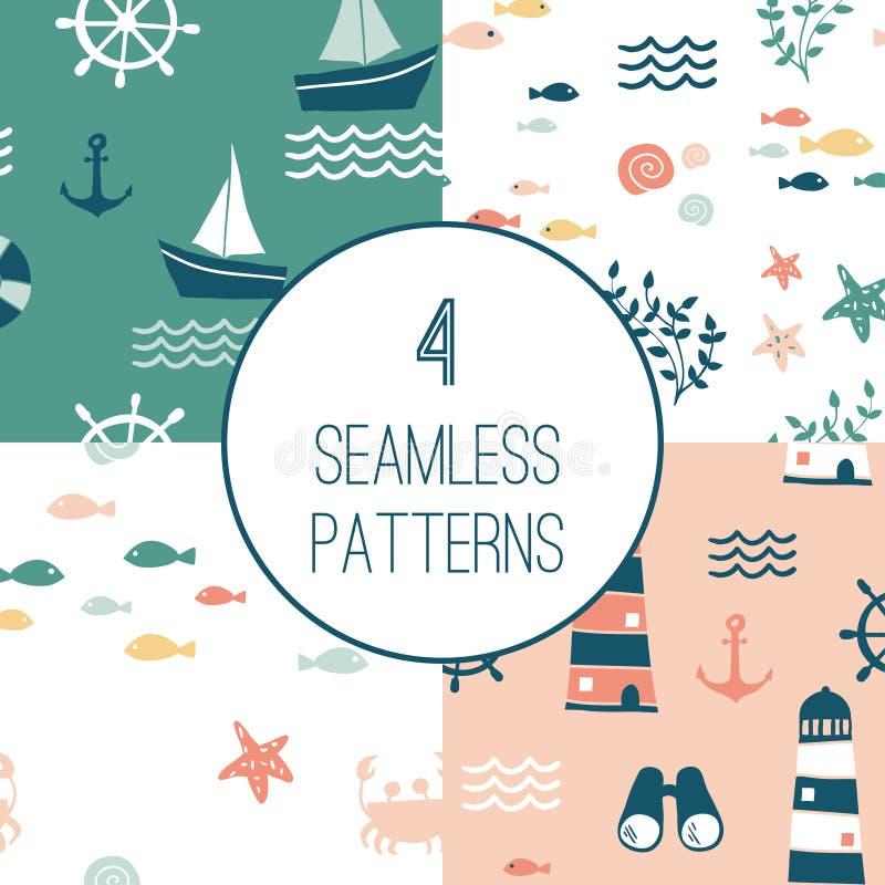 4 naadloze patronen met zeevaartontwerpelementen royalty-vrije stock foto