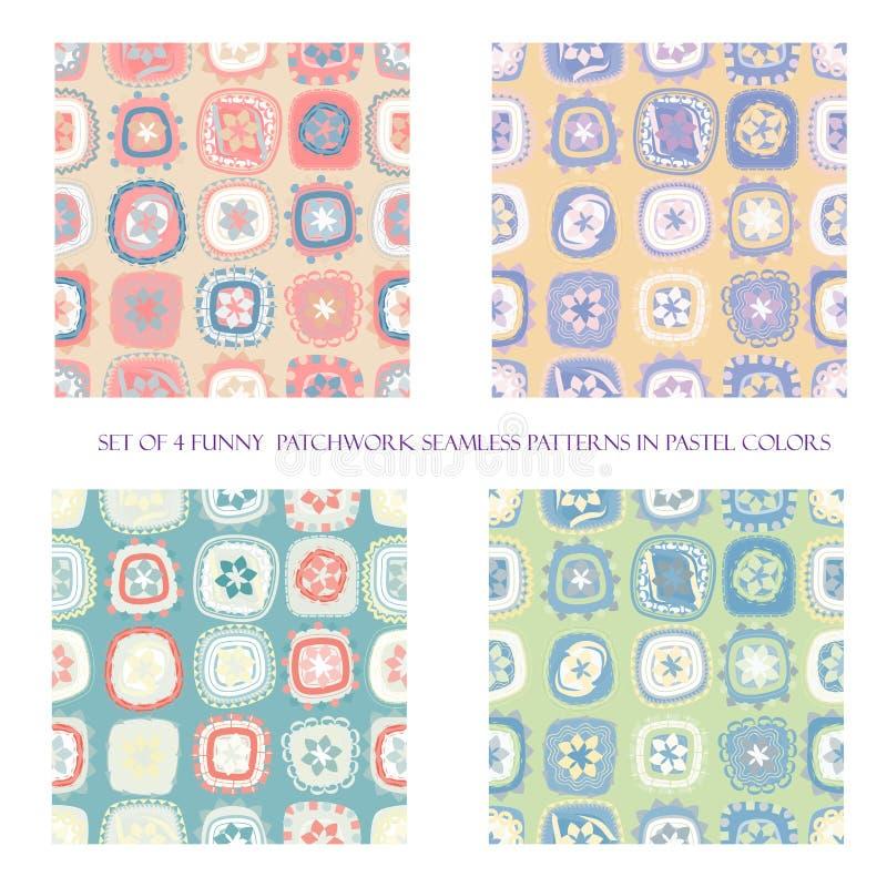 Naadloze patronen in pastelkleuren stock illustratie