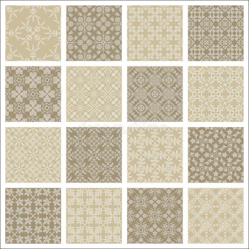 16 naadloze patronen vector illustratie