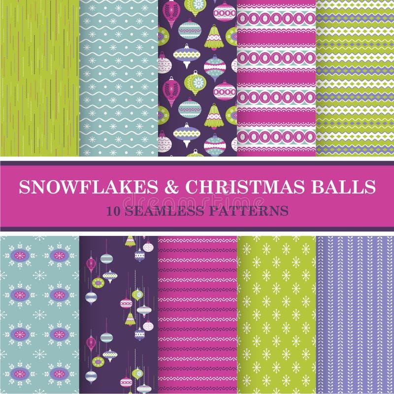 Naadloze Patronen - Sneeuwvlokken en Kerstmisballen vector illustratie