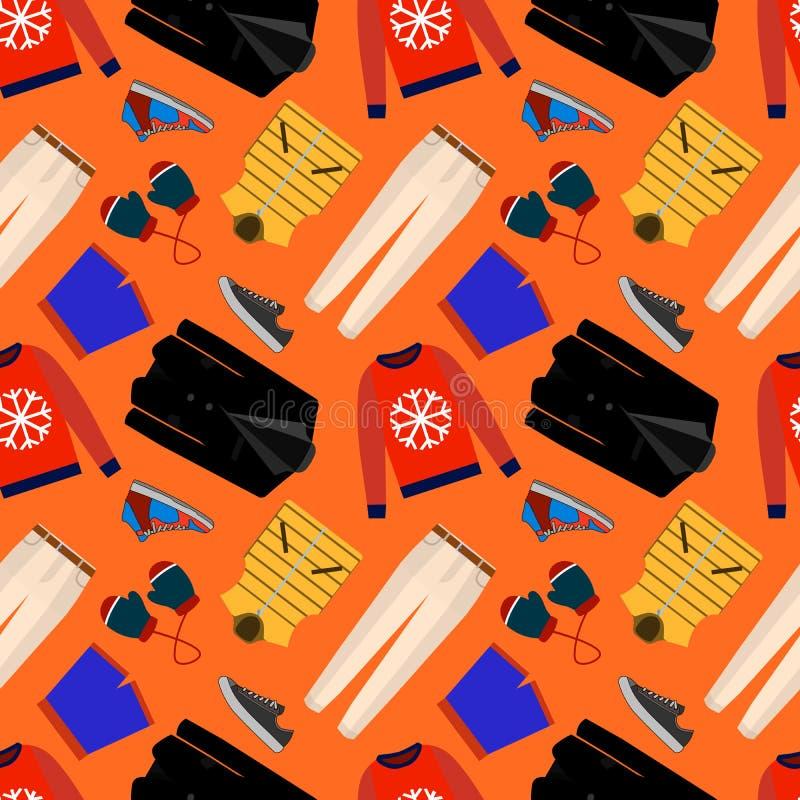 Naadloze patronen van mannelijke kleren, schoenen en toebehoren voor online opslag De achtergronden van de mensens slijtage voor  vector illustratie