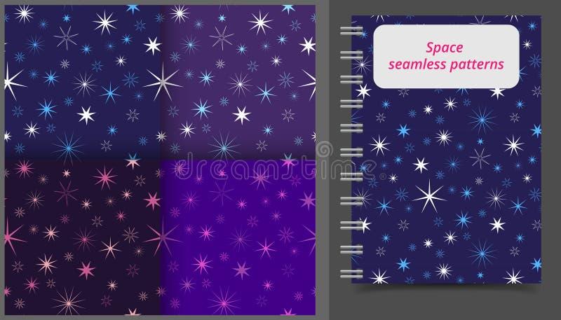 naadloze patronen van sterren op donkerblauwe en violette achtergronden stock illustratie