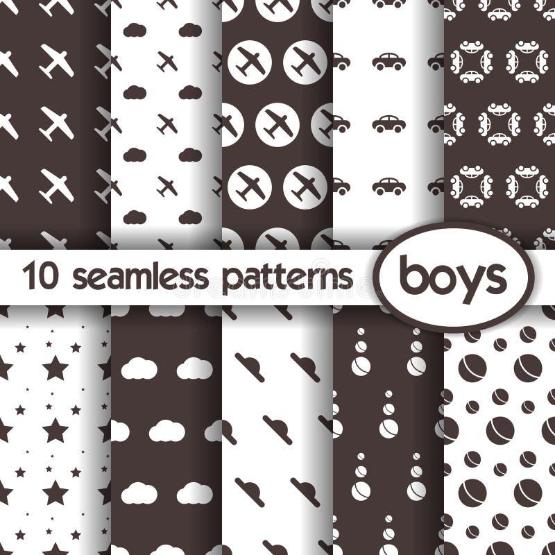 10 naadloze patronen voor jongens royalty-vrije illustratie