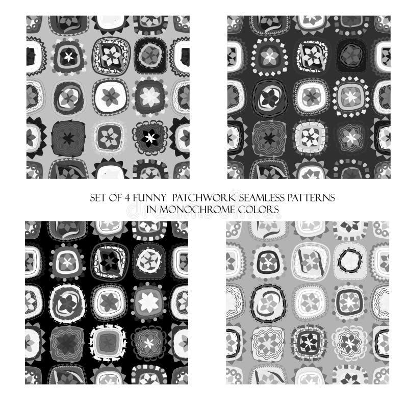 Naadloze patronen in zwart-wit kleuren vector illustratie