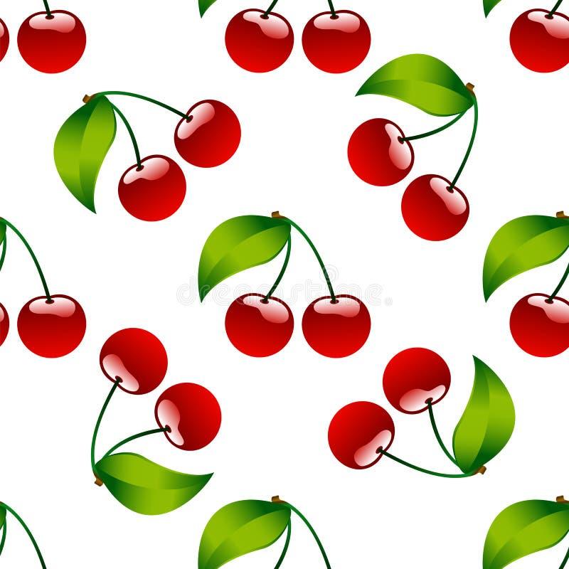 Naadloze patroon achtergrondkersen rode rijpe berrie vector illustratie