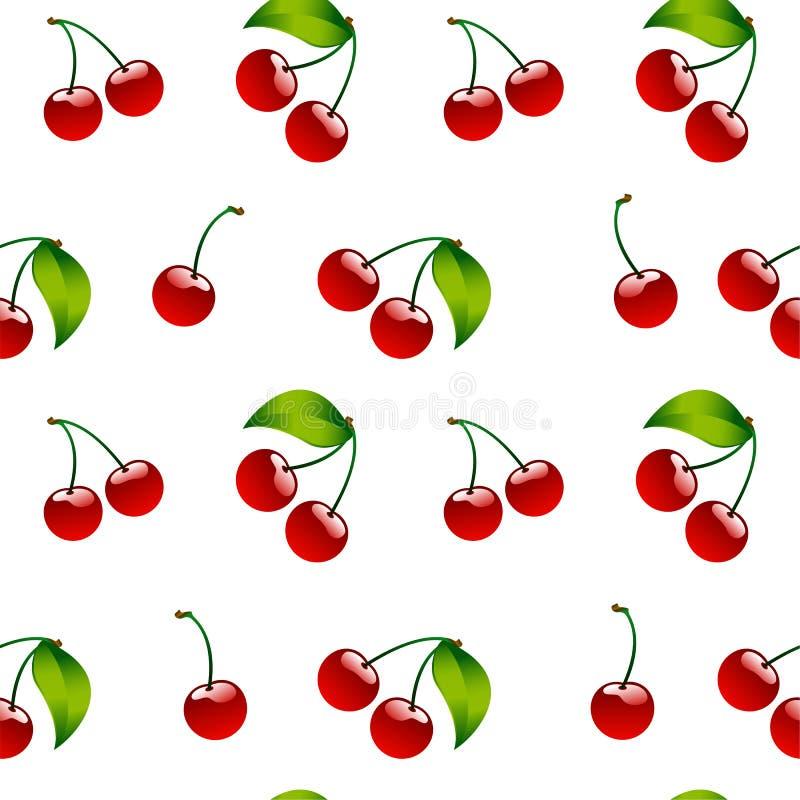 Naadloze patroon achtergrondkersen rode rijpe berrie royalty-vrije illustratie