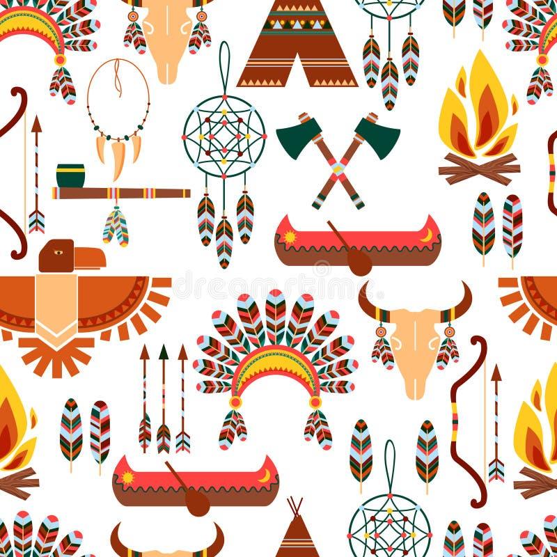 Naadloze Patroon Amerikaanse Stammen Inheemse Symbolen stock illustratie