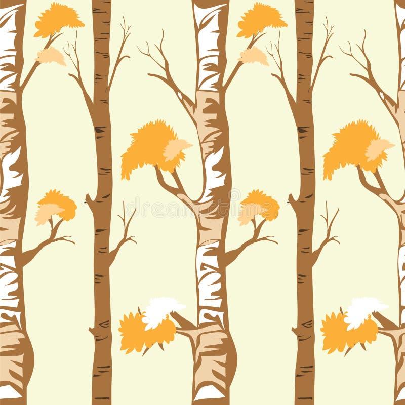 Naadloze patroon bosbomen in de herfst of de winter op gele achtergrond royalty-vrije stock afbeeldingen