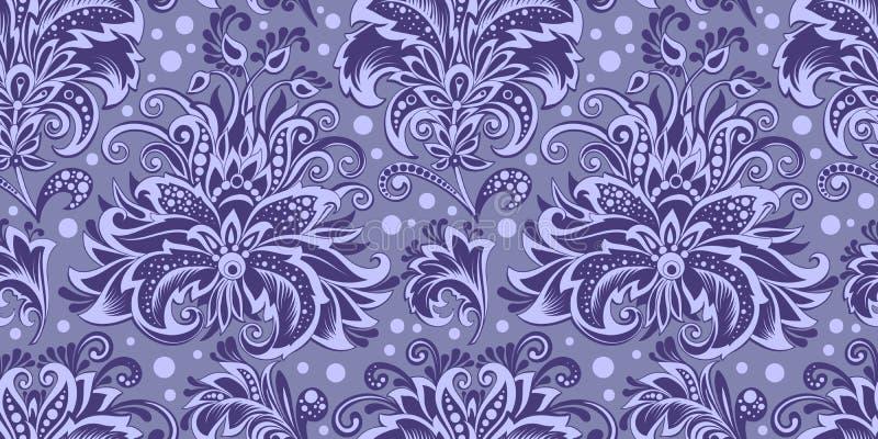 Naadloze patroon decoratieve blauwe takken van bloemen stock foto