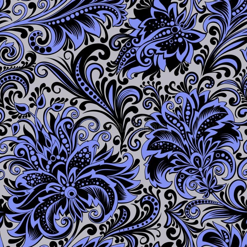 Naadloze patroon decoratieve blauwe takken van bloemen royalty-vrije stock foto's