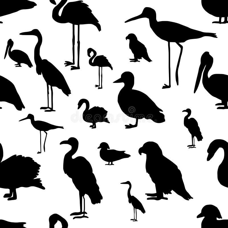 Naadloze patroon diverse soorten vogelssilhouet - vectorillu royalty-vrije illustratie