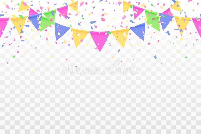 Naadloze patroon feestelijke vlaggen en confettien stock illustratie