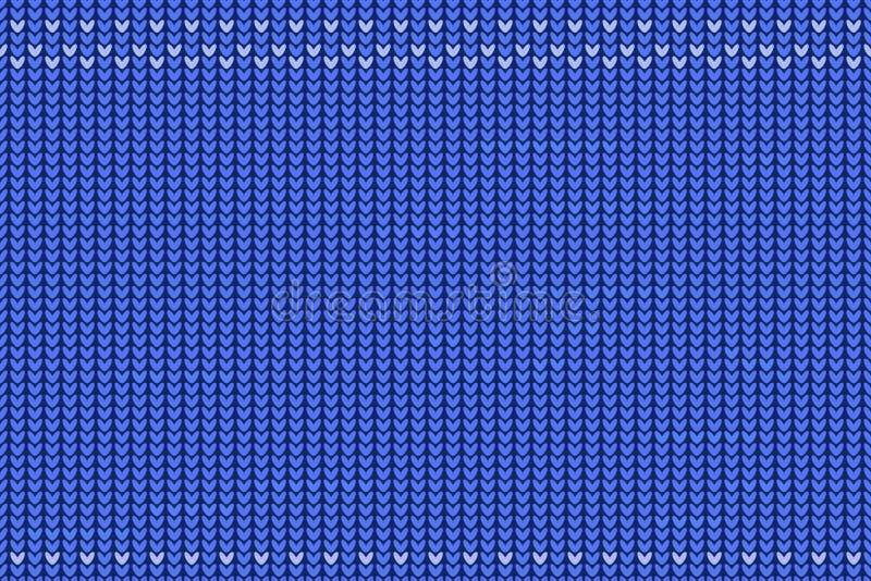 Naadloze patroon gebreide textuur, herhalend ornament blauwe en witte kleuren Lege ruimte voor uw tekst vector illustratie