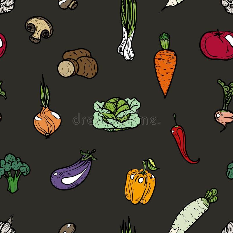 Naadloze patroon gekleurde groenten royalty-vrije illustratie