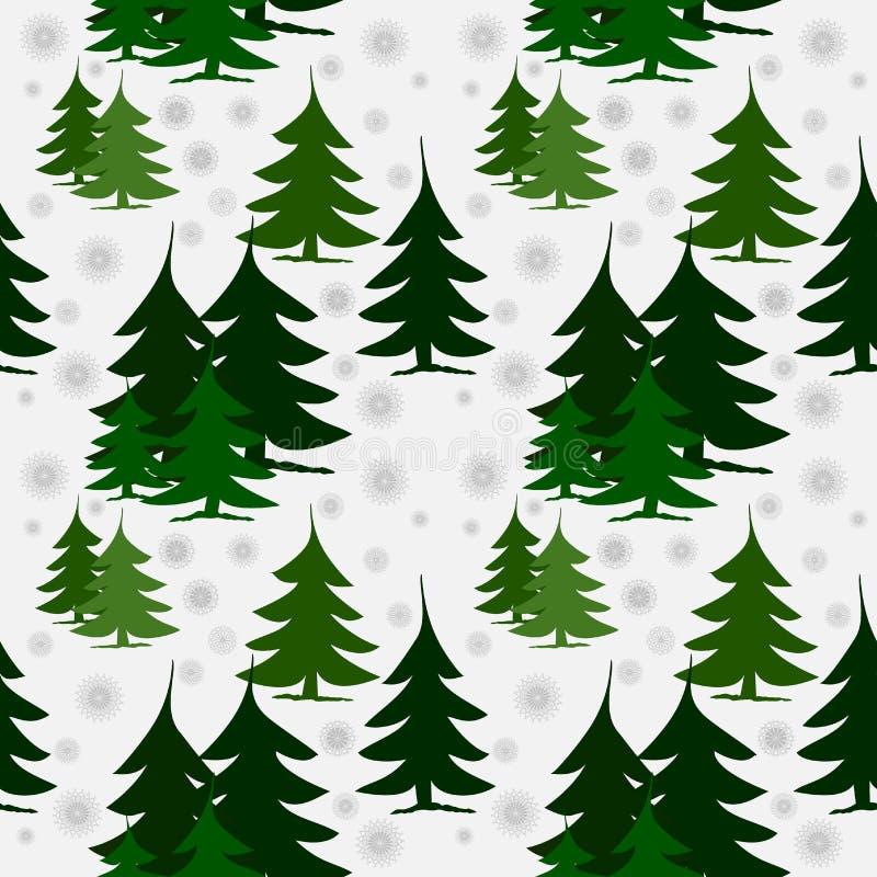 Naadloze patroon groene sparren op sneeuw stock illustratie