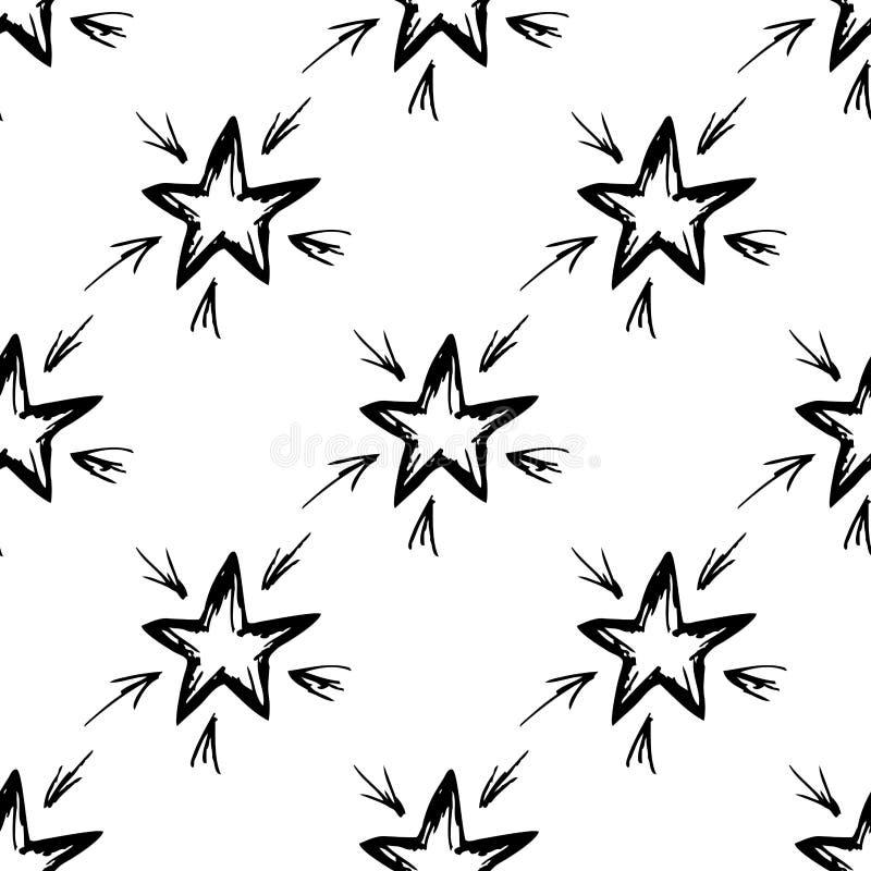 Naadloze patroon hand-drawn ster vector illustratie