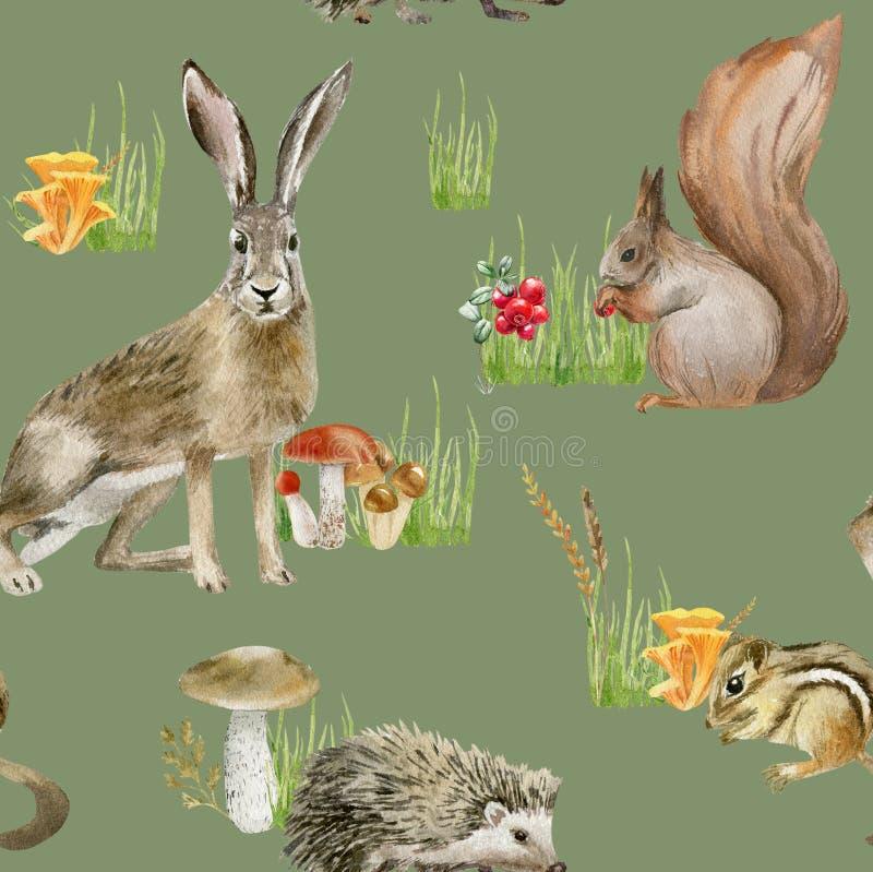Naadloze patroon herhaalde tegel van waterverfdieren vector illustratie