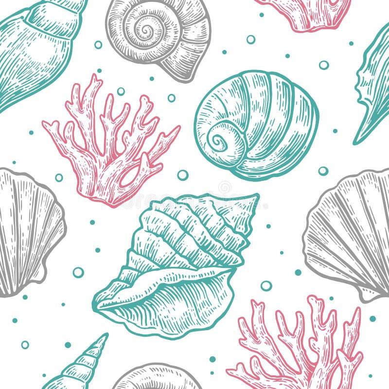 Naadloze patroon overzeese shell Vectorgravure uitstekende illustraties Geïsoleerdj op witte achtergrond vector illustratie