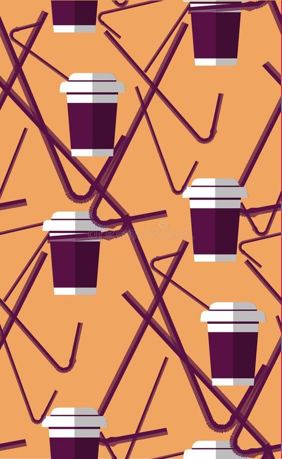 Naadloze patroon plastic buisjes met drank Vectorillustratie in vlakke ontwerpstijl stock afbeeldingen