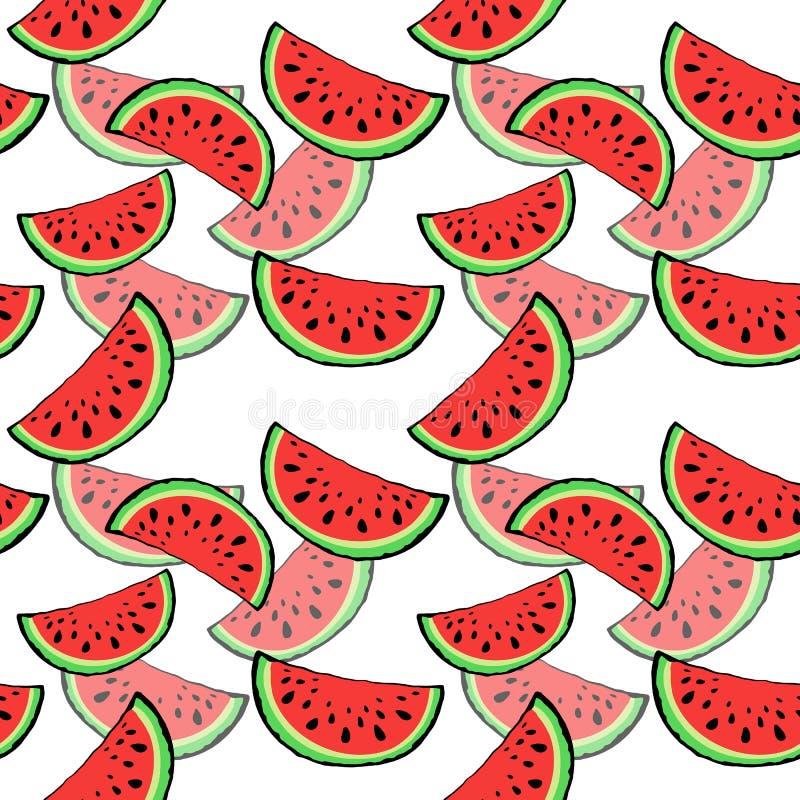 Naadloze patroon rode sappige plak van smakelijke watermeloen met zaad op witte achtergrond royalty-vrije stock afbeeldingen