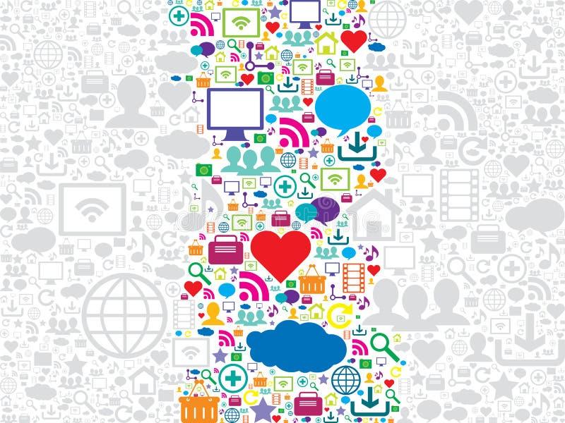 Naadloze patroon sociale media en technologiepictogrammen royalty-vrije illustratie