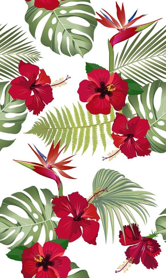 Naadloze patroon tropische bladeren met rode hibiscusbloem en paradijsvogel stock illustratie
