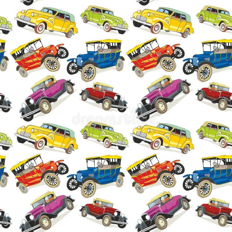 Naadloze patroon uitstekende auto's vector illustratie