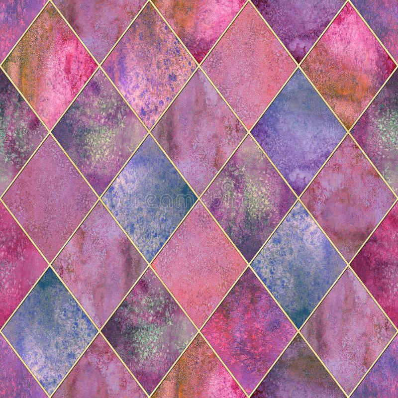 Naadloze patroon van de Argyle het geometrische waterverf royalty-vrije illustratie