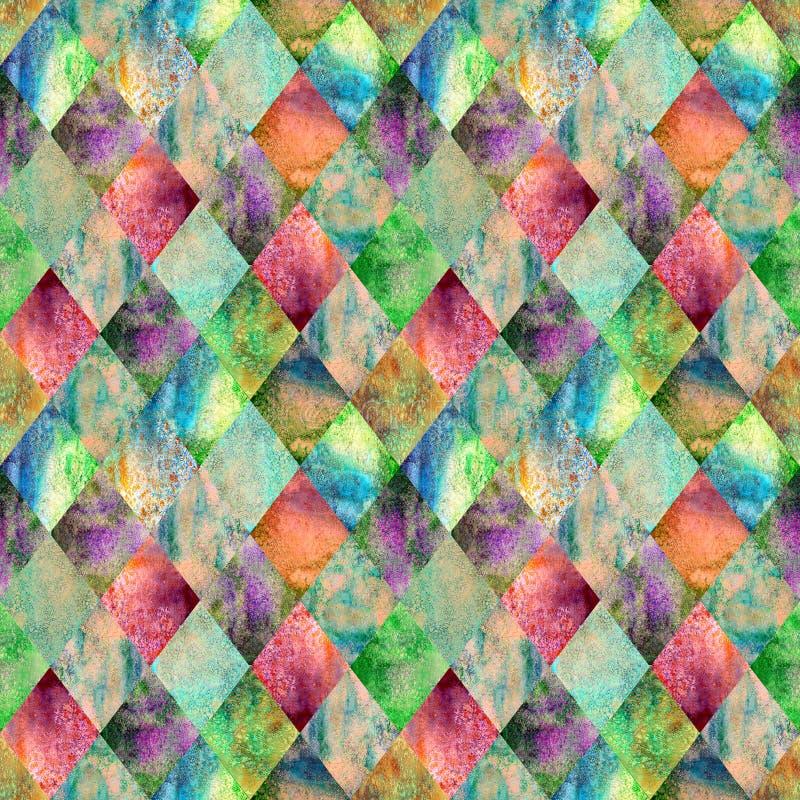 Naadloze patroon van de Argyle het geometrische waterverf stock foto's