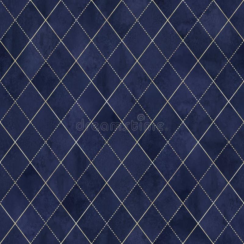 Naadloze patroon van de Argyle het geometrische waterverf stock illustratie