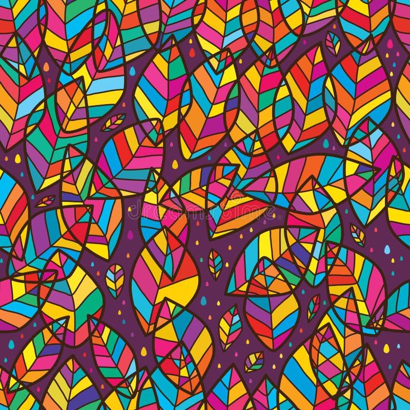Naadloze patroon van de blad het aardige dwarslijn stock illustratie