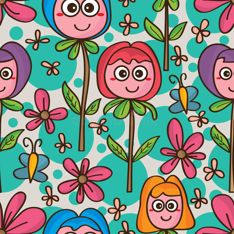 Naadloze patroon van de bloem het leuke mascotte stock illustratie