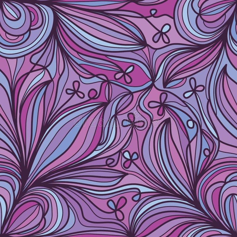 Naadloze patroon van de bloem het purpere hoek stock illustratie