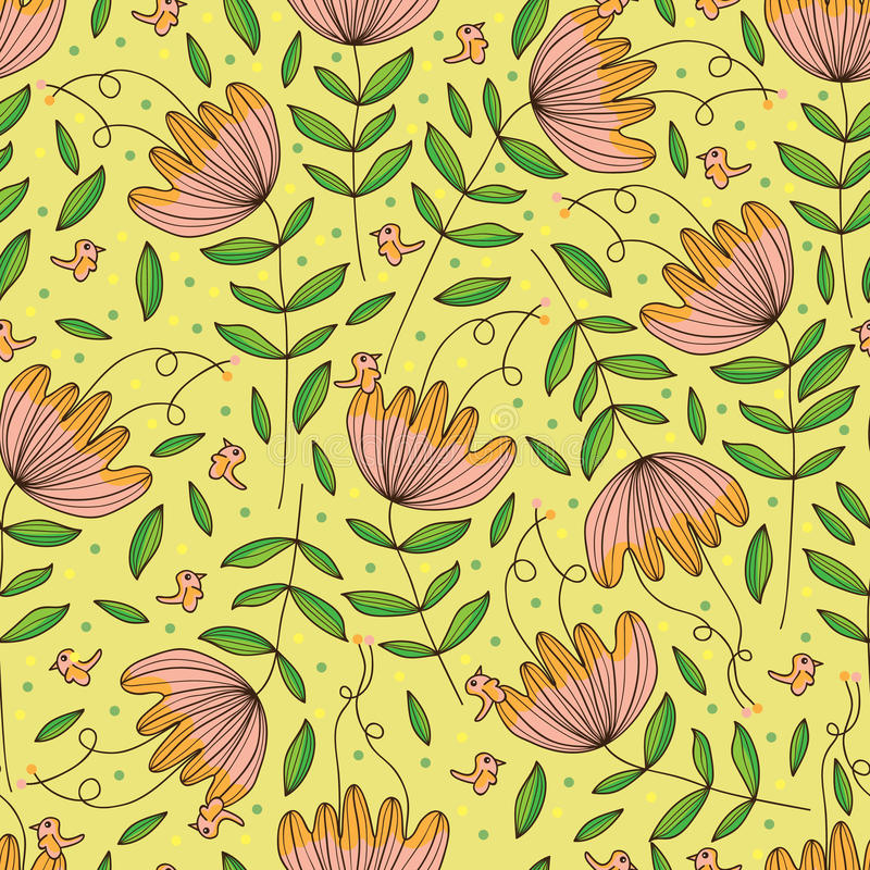 Naadloze patroon van de bloem het tekening geïsoleerde betekenis stock illustratie