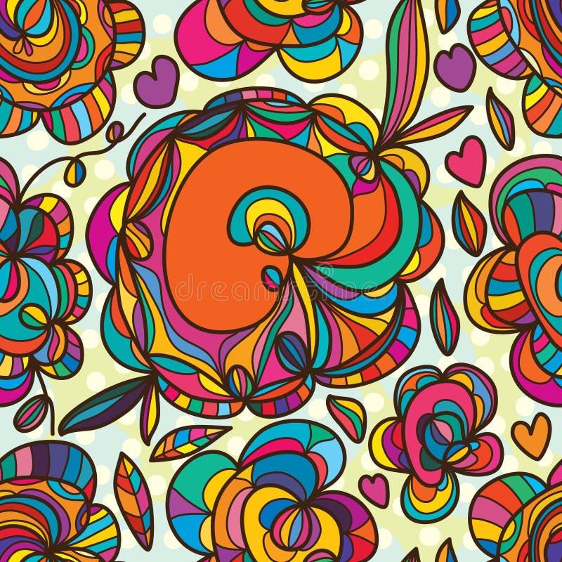 Naadloze patroon van de bloem het vrije tekening royalty-vrije illustratie
