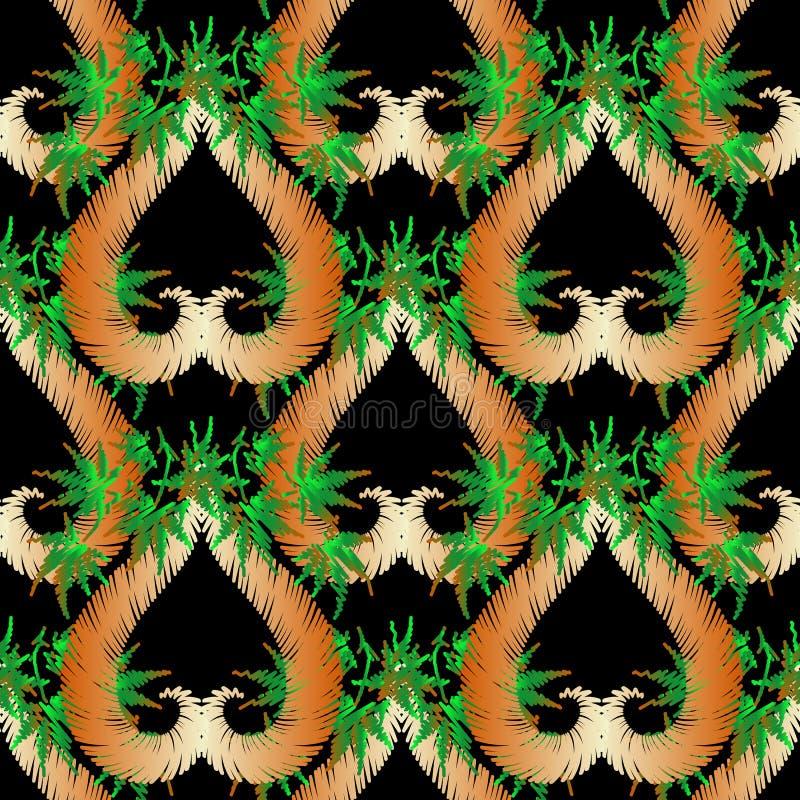 Naadloze patroon van de borduurwerk het geweven etnische stijl Vector siertapijtwerkachtergrond De bloemenheks van het grunge bla stock illustratie
