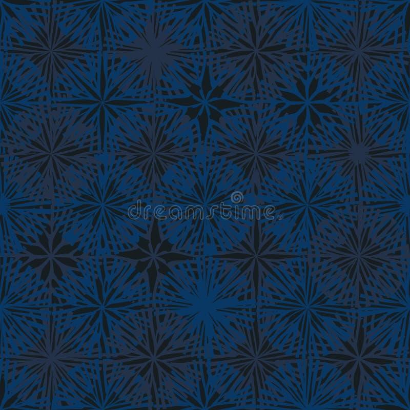 Naadloze patroon van de cirkel grunge het blauwe symmetrie royalty-vrije illustratie