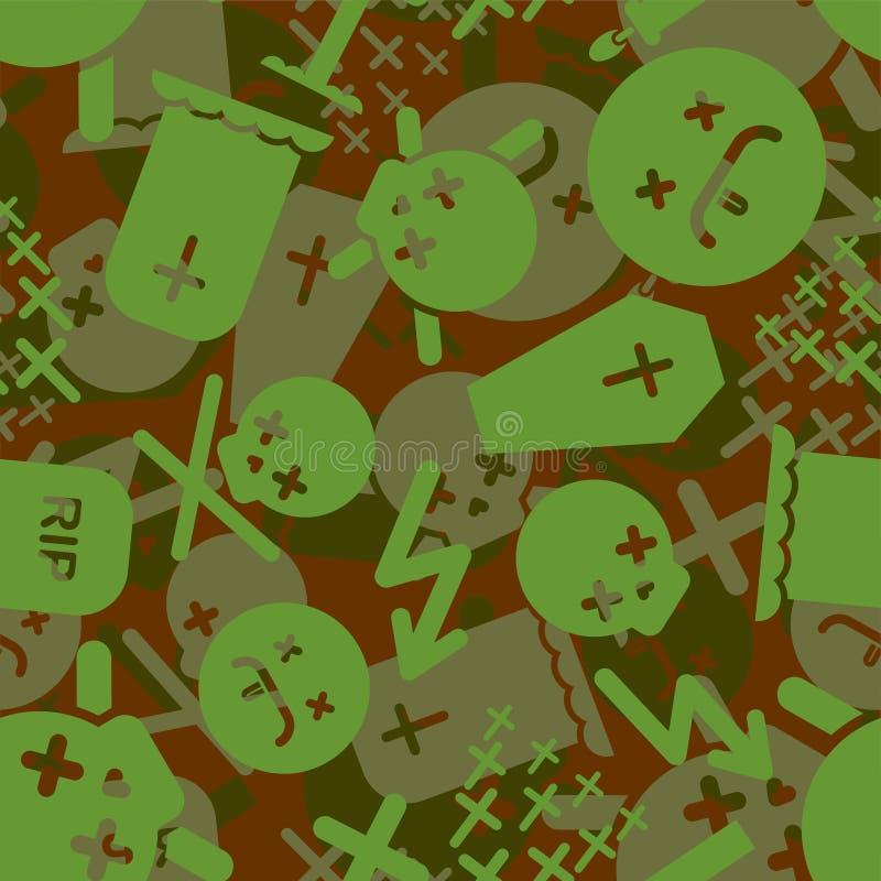 Naadloze patroon van de doods het Militaire camouflage r Leger Beschermend ornament Begraafplaats en schedel vector illustratie