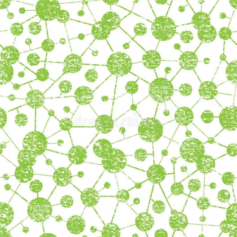 Naadloze Patroon van de Grunge het Moleculaire Structuur vector illustratie