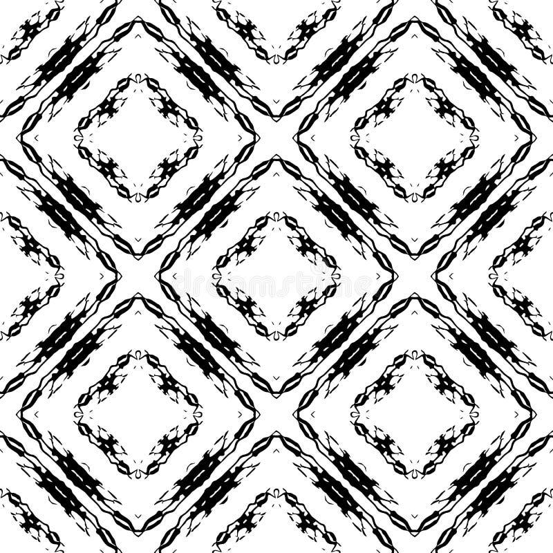 Naadloze patroon van de Grunge het sierruit Zwart-witte geometrische wafelachtergrond Zwart-wit herhaal abstracte achtergrond stock illustratie