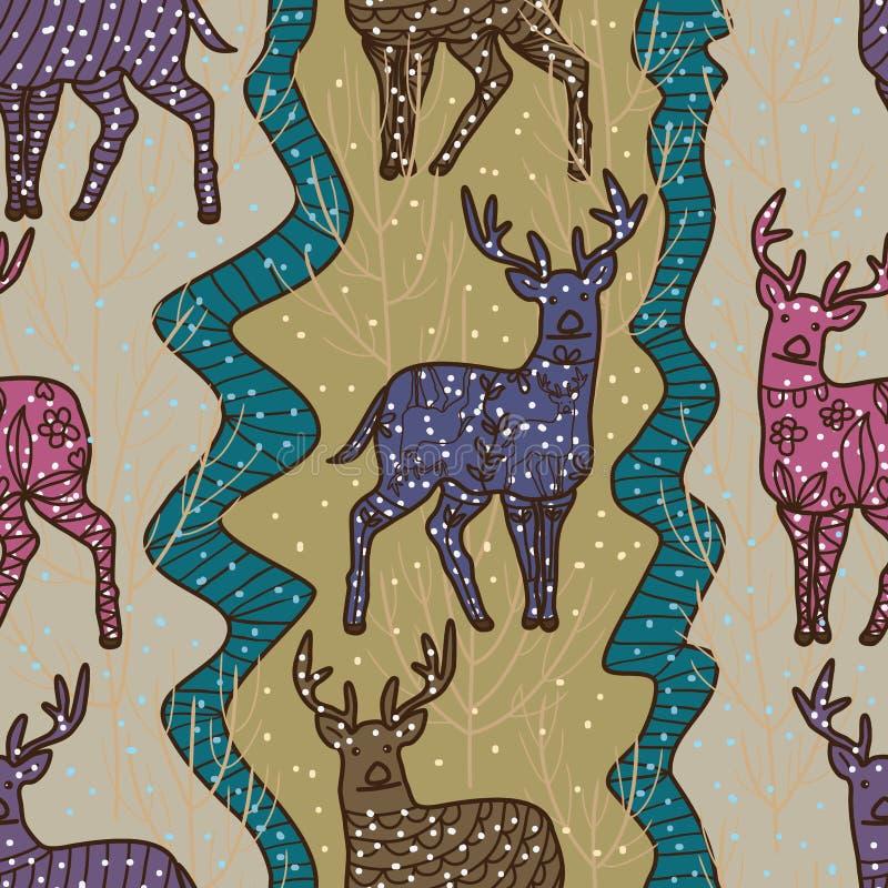 Naadloze patroon van de herten het verticale stijl vector illustratie