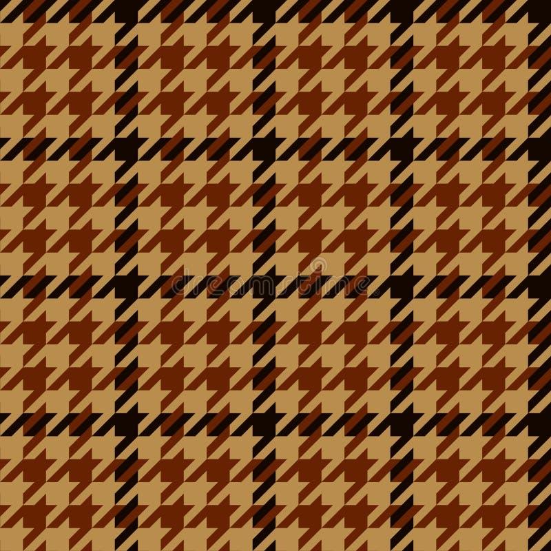 Naadloze patroon van de Houndstooth het geometrische plaid in bruin en beige, vector stock illustratie