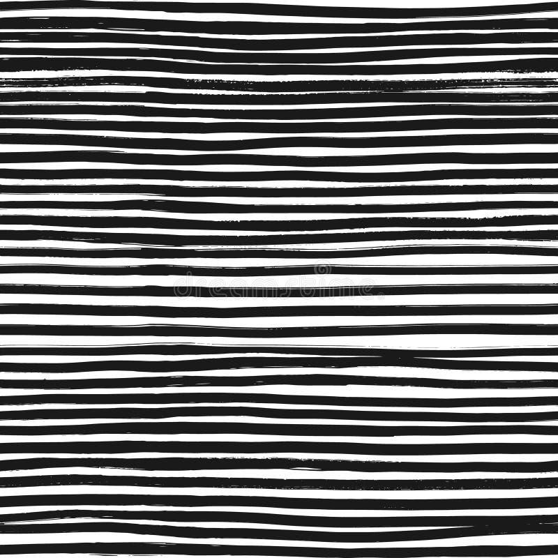 Naadloze Patroon van de inkt het Abstracte Streep Achtergrond met artistieke slagen in zwart-witte schetsmatige stijl Het element vector illustratie
