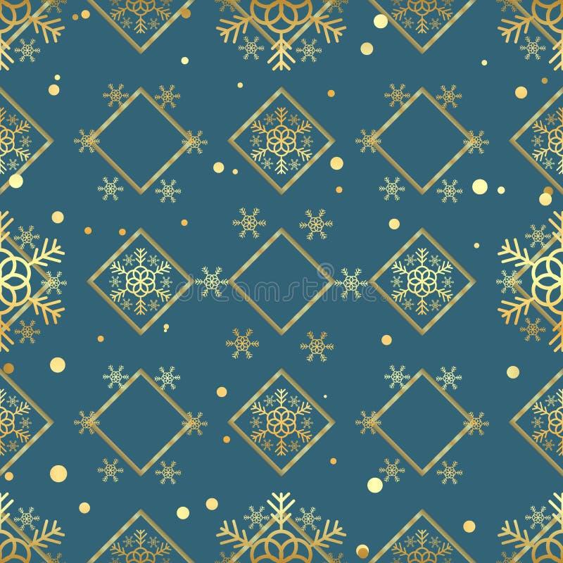Naadloze patroon van de Kerstmis het gouden sneeuwvlok Gouden sneeuwvlokken op blauwe ruitachtergrond De textuurbehang van de de  stock illustratie
